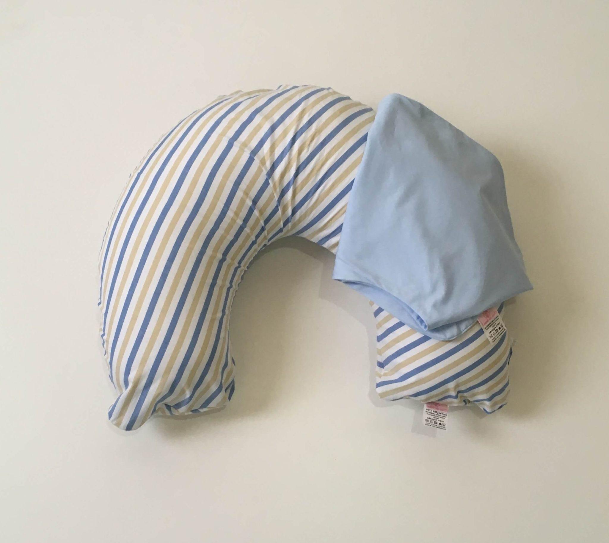Almofada De Amamentação – Listras Azul, Bege Branco + Capa Extra Azul