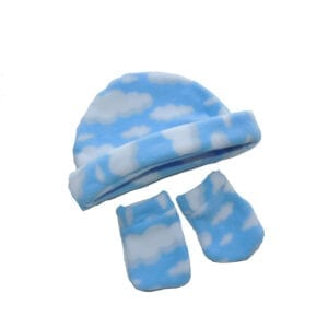 Luvas e Gorro Microsoft Nuvem Azul Tam. 0-3 meses