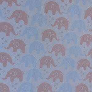 Lençol Para Mini Berço Agarradinho para colchões de 86x42x8 – Elefantes Azul e Salmão Colo de Mãe