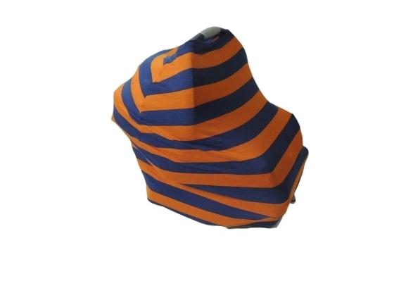 Capa Multifuncional Listras Azul E Laranja Para Mamãe E Bebê 5 Funções