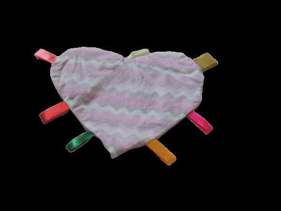 Manta Sensorial Coração Chevron Rosa E Cinza