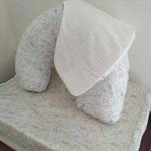 Almofada De Amamentação – Animais Branco + Capa Extra Branca