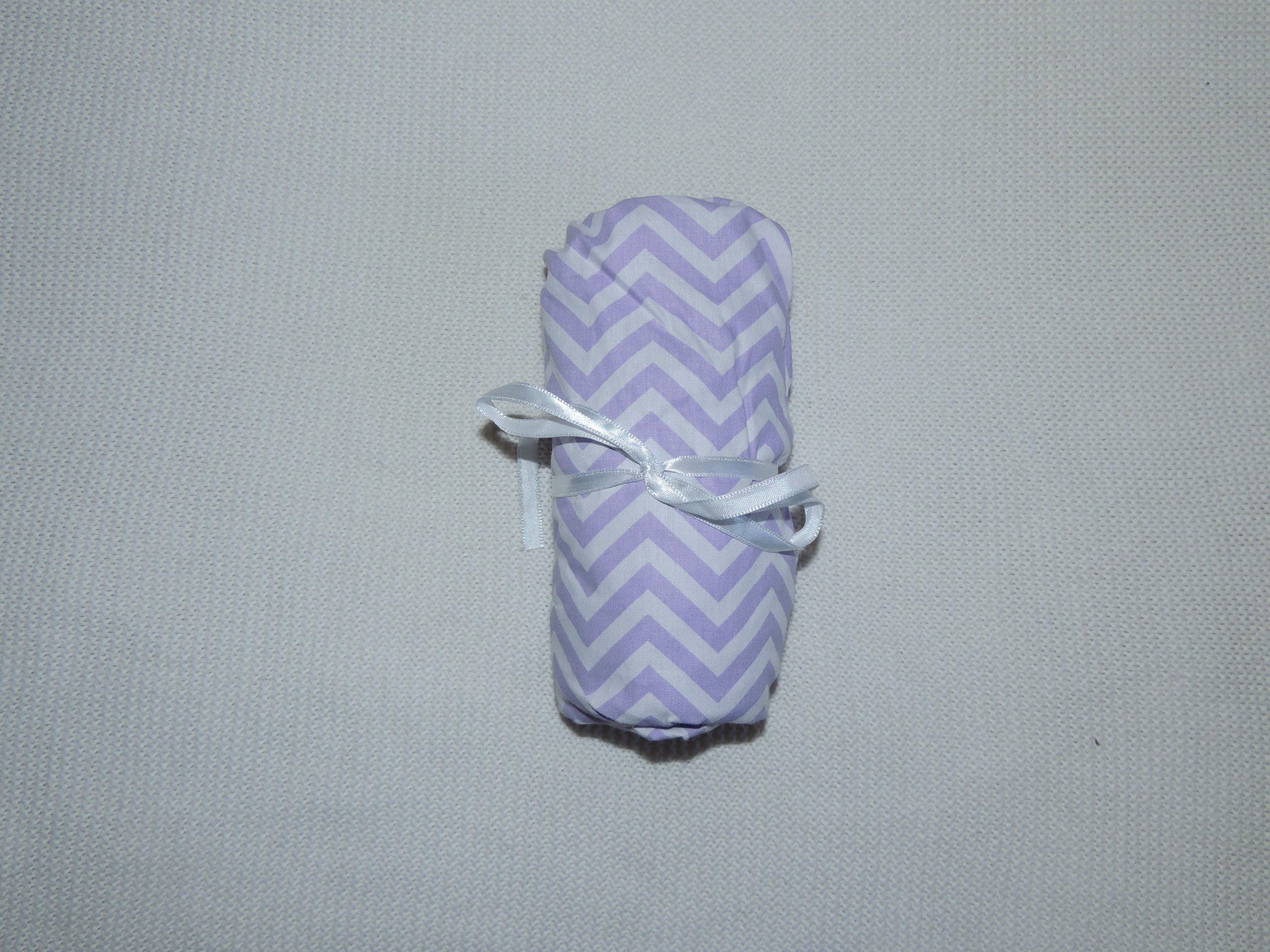 Lençol Para Mini Berço Agarradinho Para Colchões De 86x42x8 – Chevron Lilás Colo De Mãe