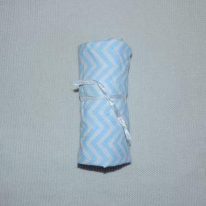 Lençol Para Mini Berço Agarradinho Para Colchões De 86x42x8 – Chevron Azul Colo De Mãe