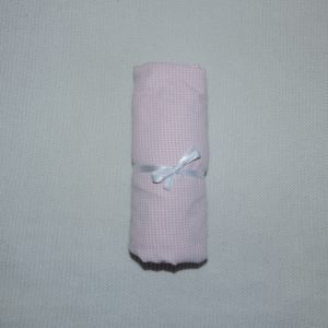 Lençol Para Mini Berço Agarradinho para colchões de 86x42x8 – Xadrez Rosa Colo de Mãe
