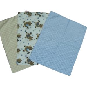 Trio de Fronhas para travesseiro de bebê Marrocos Bege, Cavalinhos e Chevron Azul 35cm x 28cm da Colo de Mãe _ 3 fronhas