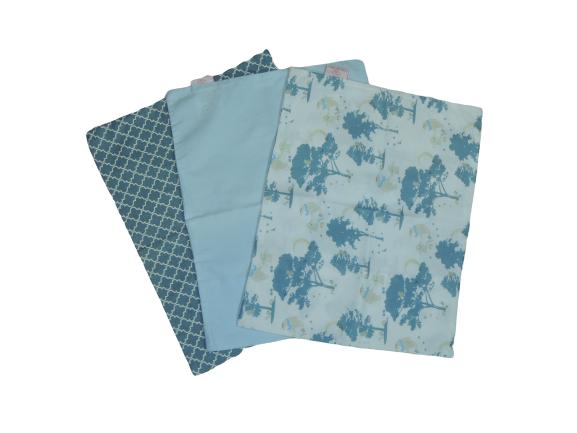 Trio De Fronhas Para Travesseiro De Bebê Marrocos Jeans, Azul Bebê E Ursinhos 35cm X 28cm Da Colo De Mãe _ 3 Fronhas