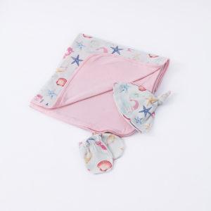 Cueiro para Bebê de Malha Dupla Face sereia+ touca e luvas