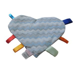 Manta Sensorial Coração Chevron Azul e Cinza
