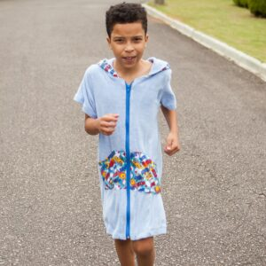 Roupão Infantil com Capuz Plop Manga Curta de 5 a 10 anos
