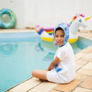 Roupão Infantil com Capuz Azul Manga Curta de 5 a 10 anos