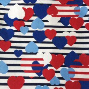 Toalha Gigante Infantil Coração Listrado 1,20m x 1,15m