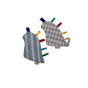 Kit Manta Sensorial Dino Losango e Chevron Azul com Cinza com 2 unidades