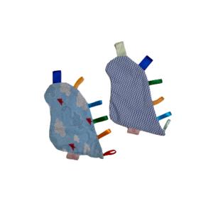 Kit Manta Sensorial Dino Chevron Azul e Nuvens com 2 unidades